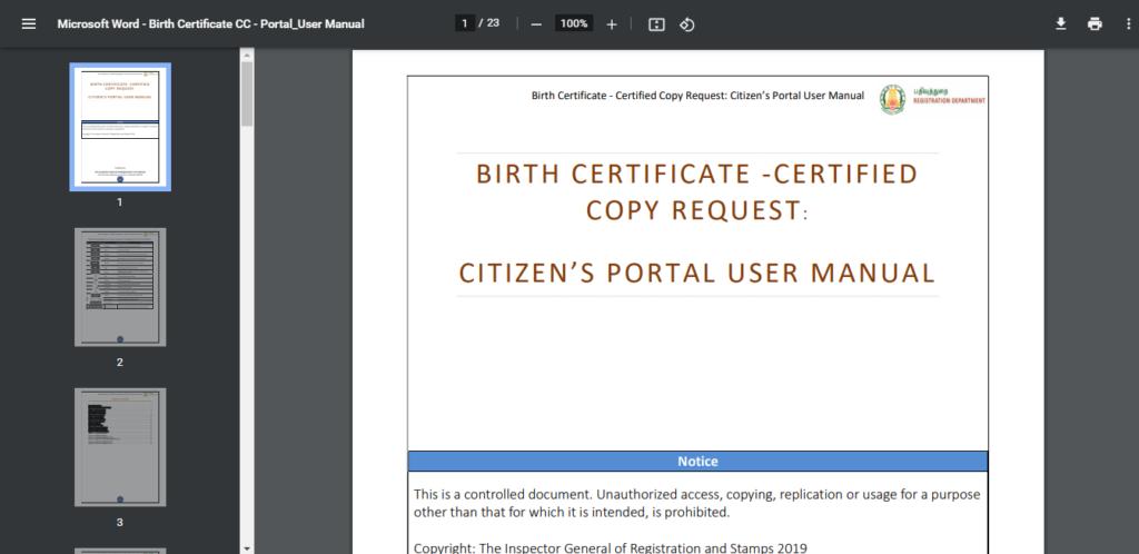 Birth Certificate copy request user manual